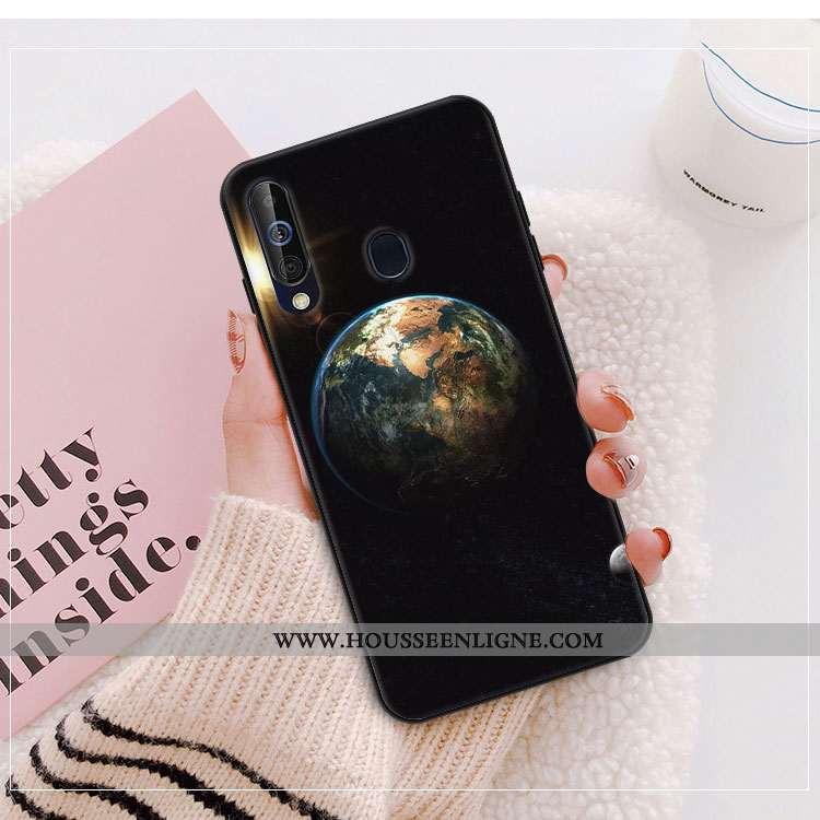 Coque Samsung Galaxy A40s Verre Créatif Étui Miroir Protection Téléphone Portable Étoile Noir
