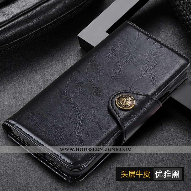 Coque Samsung Galaxy A41 Cuir Housse Tout Compris Téléphone Portable Étui Noir
