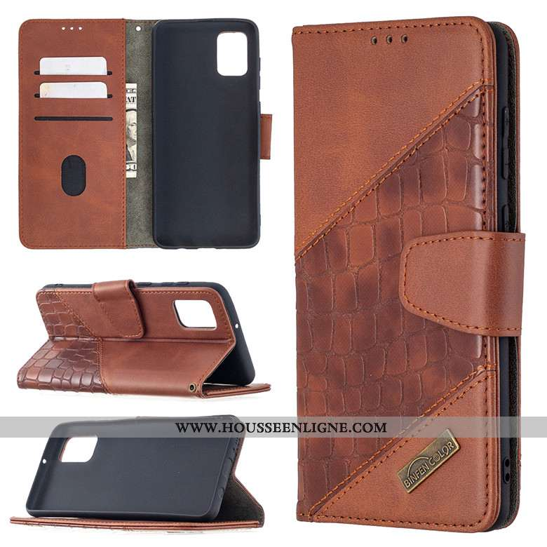 Coque Samsung Galaxy A41 Cuir Protection Étoile Téléphone Portable Étui Clamshell Marron