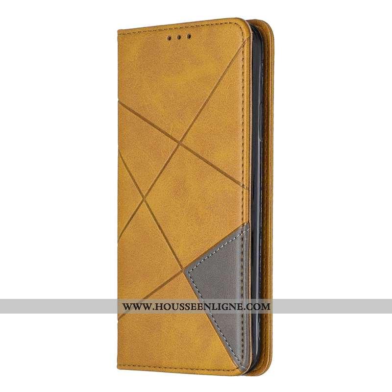 Coque Samsung Galaxy A41 Cuir Protection Carte Étoile Étui Gris Jaune