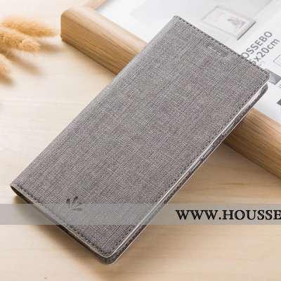 Coque Samsung Galaxy A41 Protection Cuir Incassable Tissu Modèle Fleurie Téléphone Portable Gris
