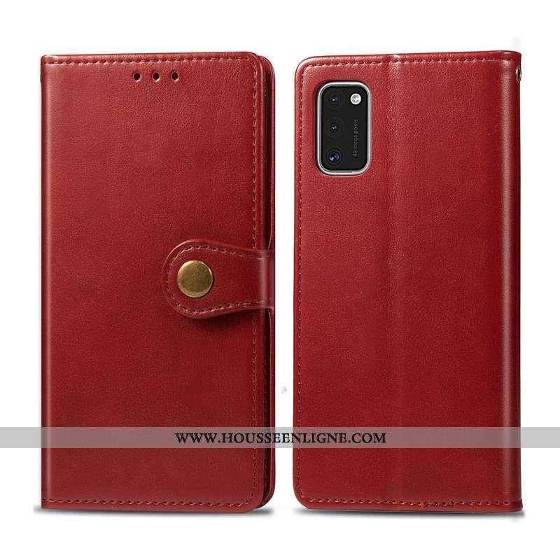 Coque Samsung Galaxy A41 Protection Ornements Suspendus Simple Cuir Housse Couleur Unie Étoile Marro