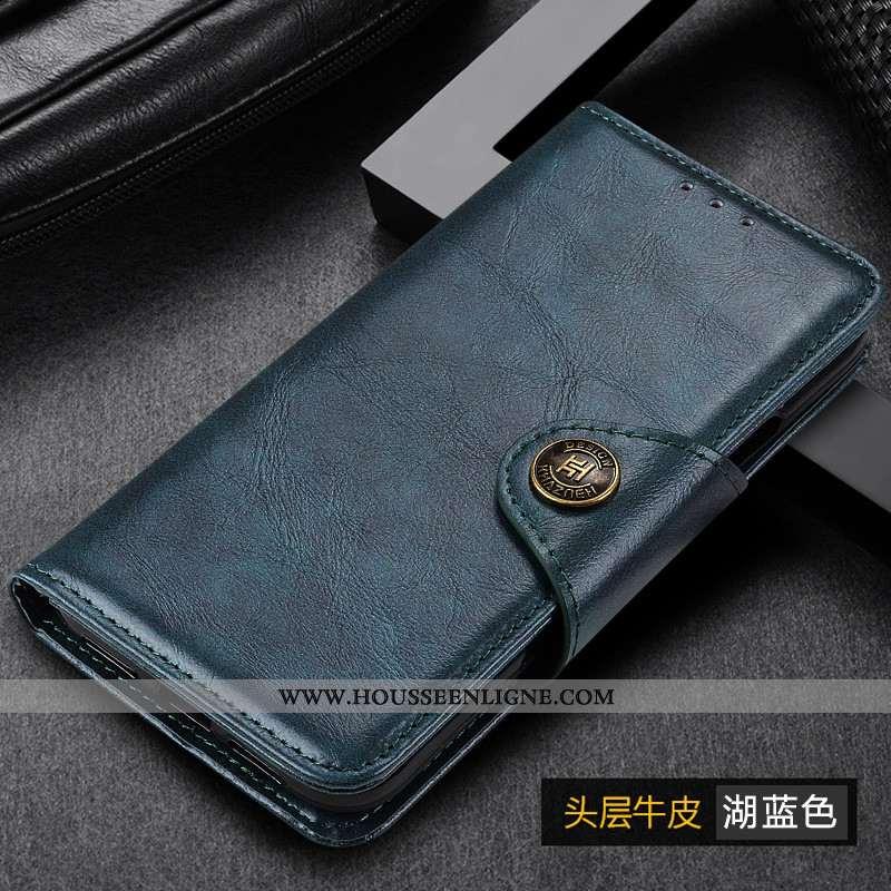 Coque Samsung Galaxy A50 Cuir Véritable Étui Incassable Étoile Téléphone Portable Tout Compris Bleu