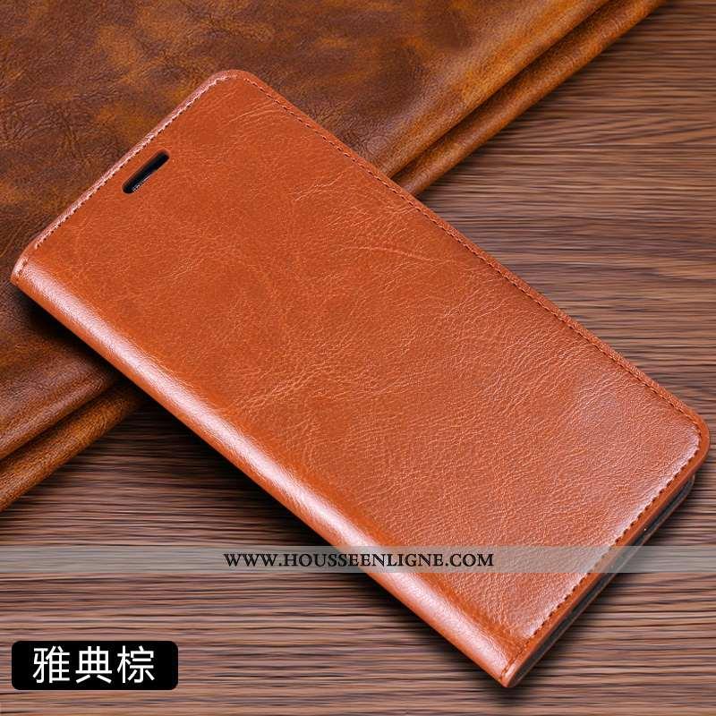Coque Samsung Galaxy A50 Cuir Véritable Cuir Net Rouge Étui Téléphone Portable Incassable Étoile Mar