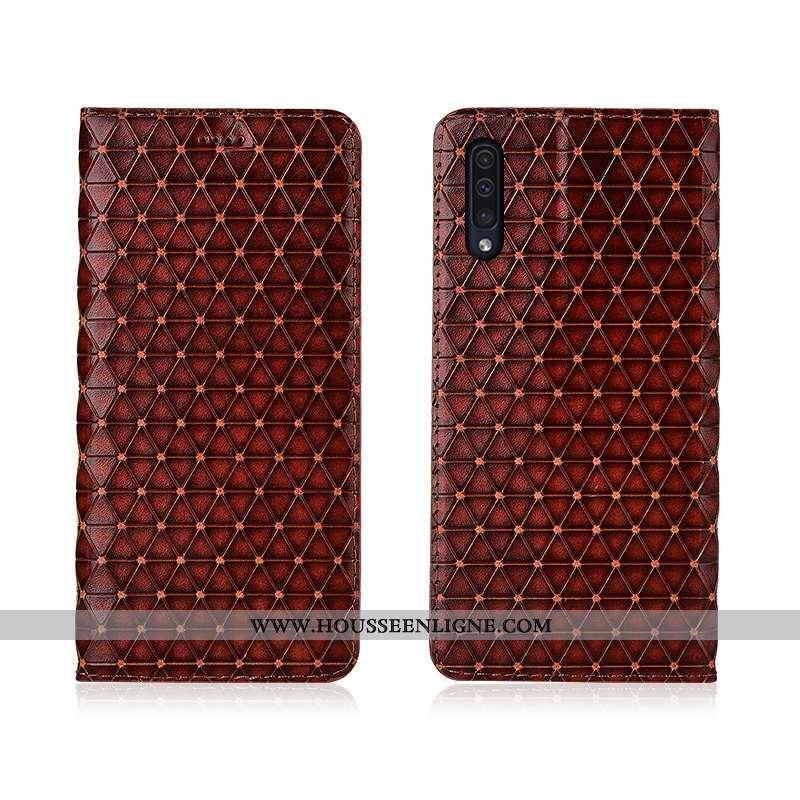 Coque Samsung Galaxy A50 Protection Délavé En Daim Étui Fluide Doux Clamshell Étoile Marron