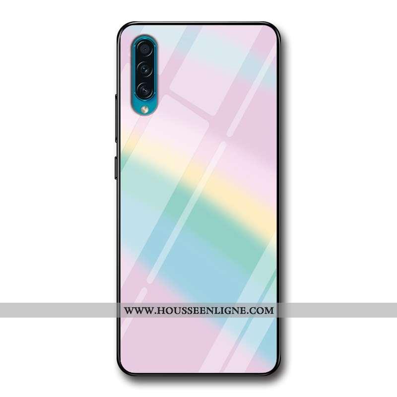 Coque Samsung Galaxy A50s Verre Personnalité Téléphone Portable Rose Dégradé De Couleur Simple Coule