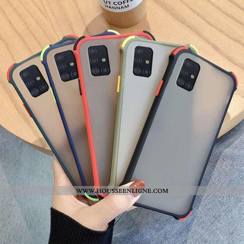 Coque Samsung Galaxy A51 Délavé En Daim Tendance Protection Noir Fluide Doux Étoile Étui