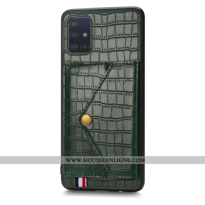 Coque Samsung Galaxy A51 Modèle Fleurie Silicone Vert Portefeuille Étui Incassable Crocodile Verte