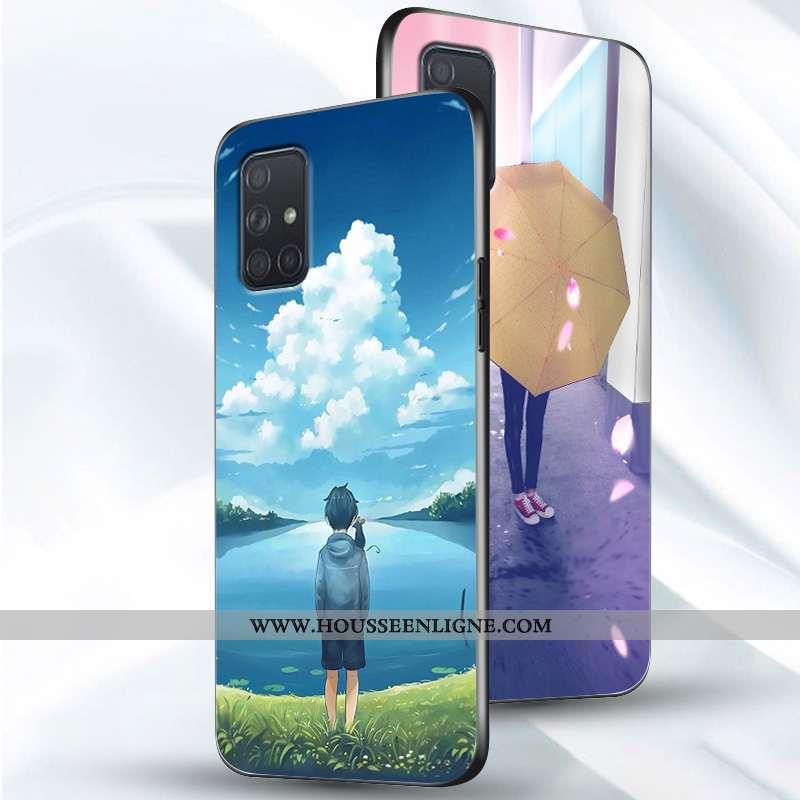 Coque Samsung Galaxy A51 Personnalité Créatif Net Rouge Tendance Étui Simple Bleu