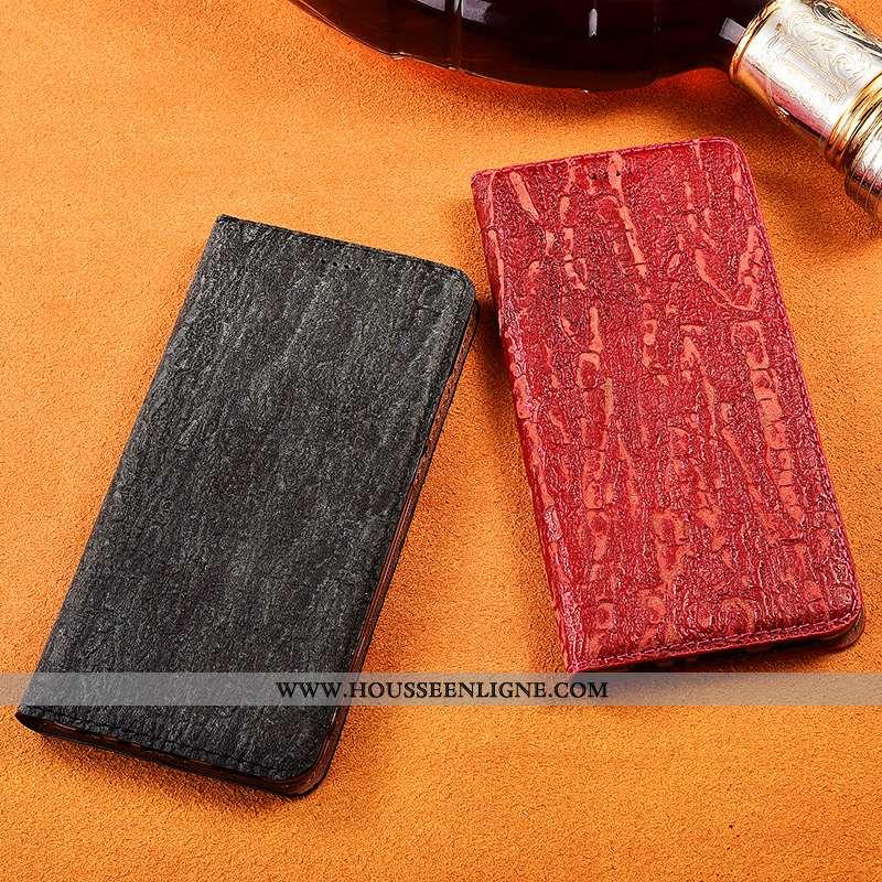 Coque Samsung Galaxy A51 Protection Délavé En Daim Cuir Incassable Nouveau Cuir Véritable Rouge