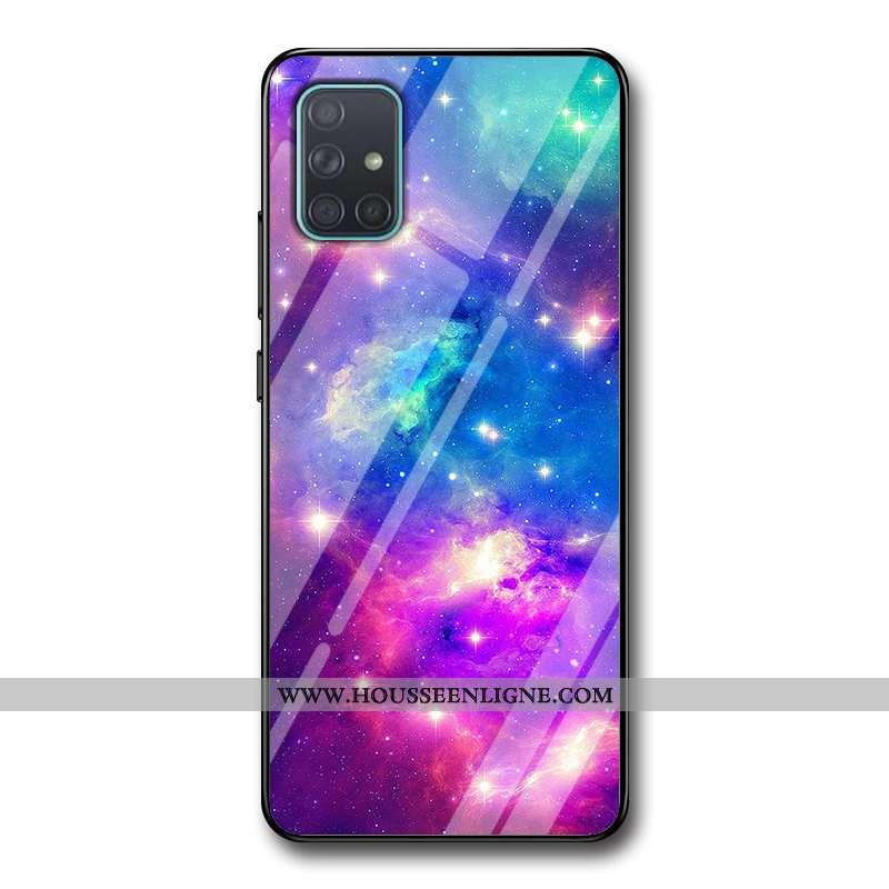 Coque Samsung Galaxy A51 Tendance Mode Ciel Étoilé Téléphone Portable Créatif Difficile Violet