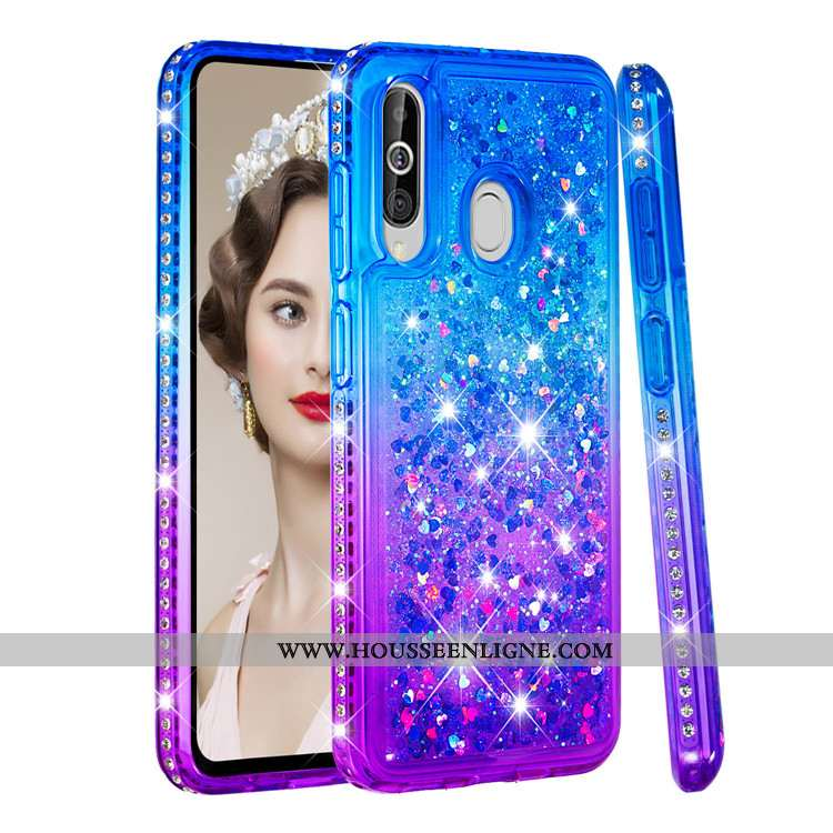 Coque Samsung Galaxy A60 Créatif Étoile Incassable Étui Téléphone Portable Quicksand Bleu
