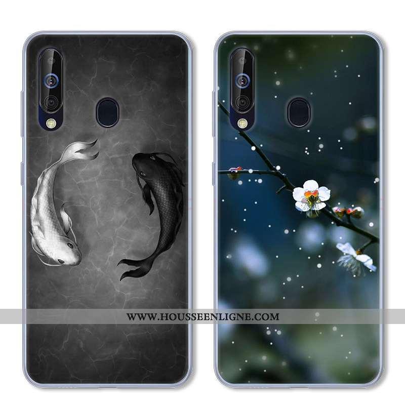 Coque Samsung Galaxy A60 Fluide Doux Silicone Incassable Étoile Étui Téléphone Portable Noir