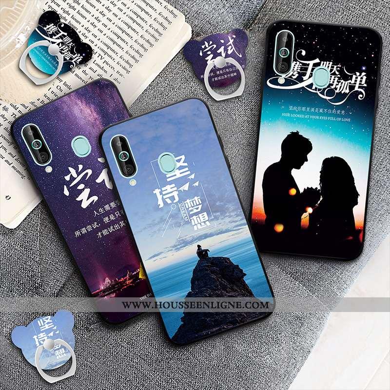 Coque Samsung Galaxy A60 Légère Dessin Animé Téléphone Portable Bleu Marin Tout Compris Incassable B