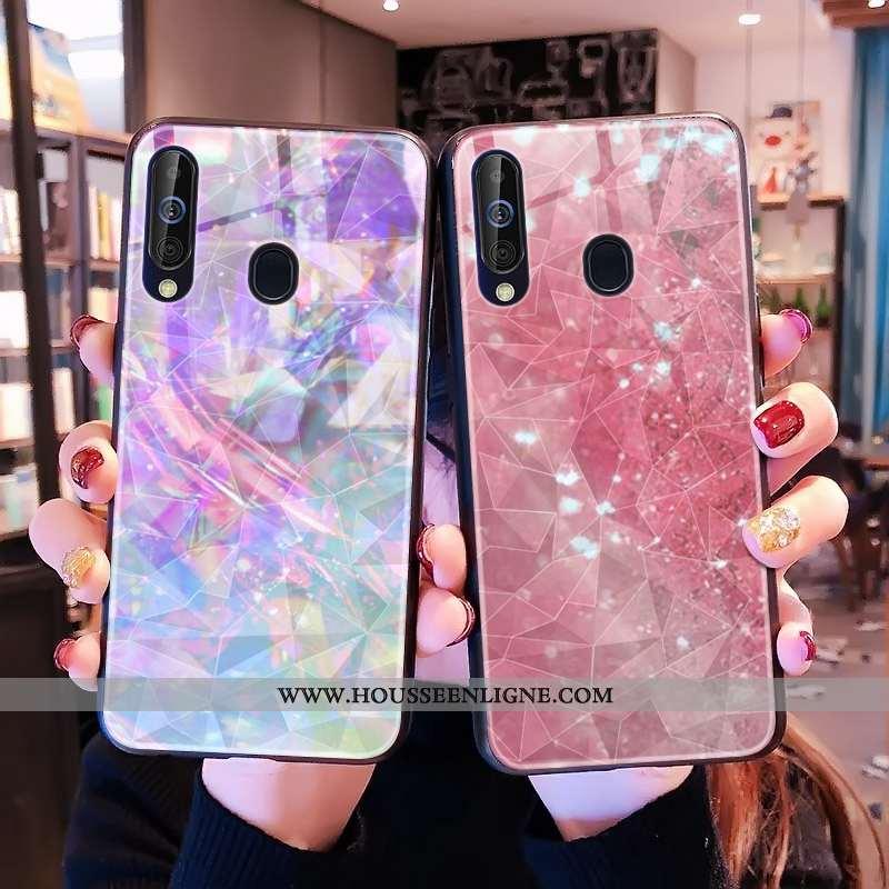 Coque Samsung Galaxy A60 Modèle Fleurie Losange Téléphone Portable Net Rouge Rose Étoile