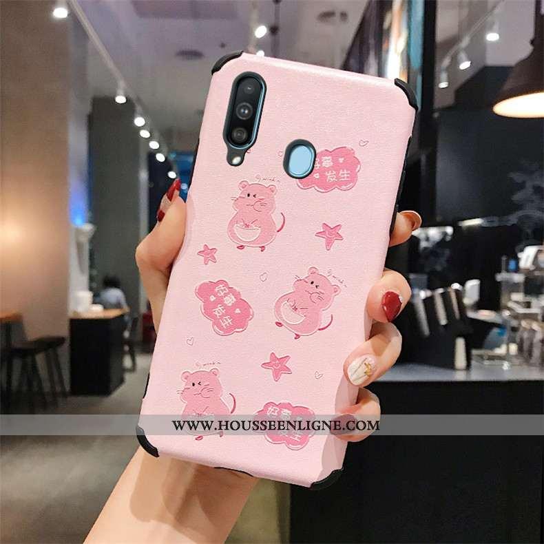 Coque Samsung Galaxy A60 Protection Gaufrage Rose Téléphone Portable Étui Incassable Fluide Doux
