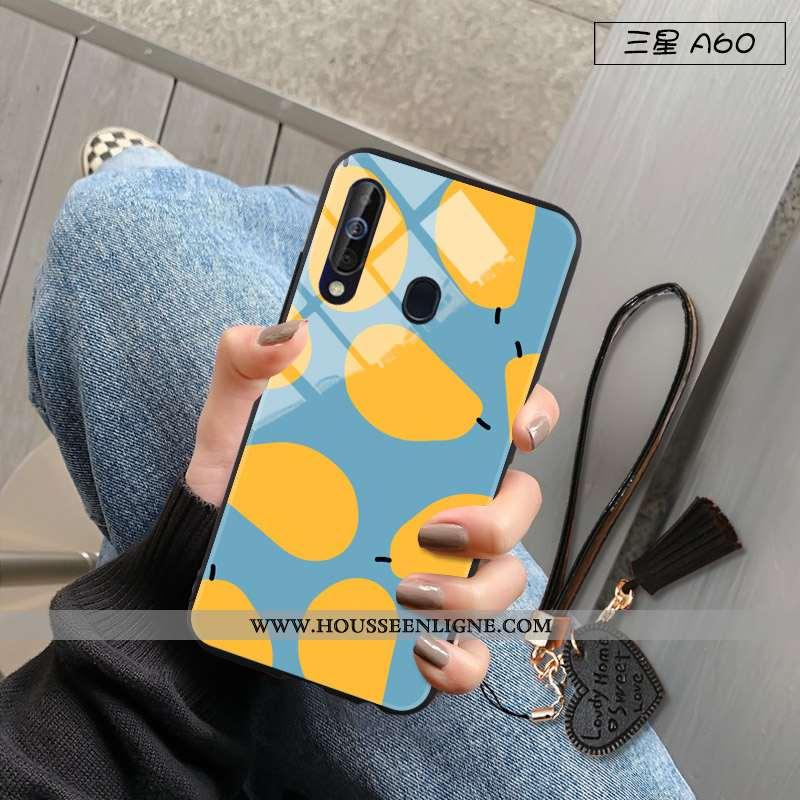 Coque Samsung Galaxy A60 Tendance Fluide Doux Difficile Silicone Incassable Téléphone Portable Bleu
