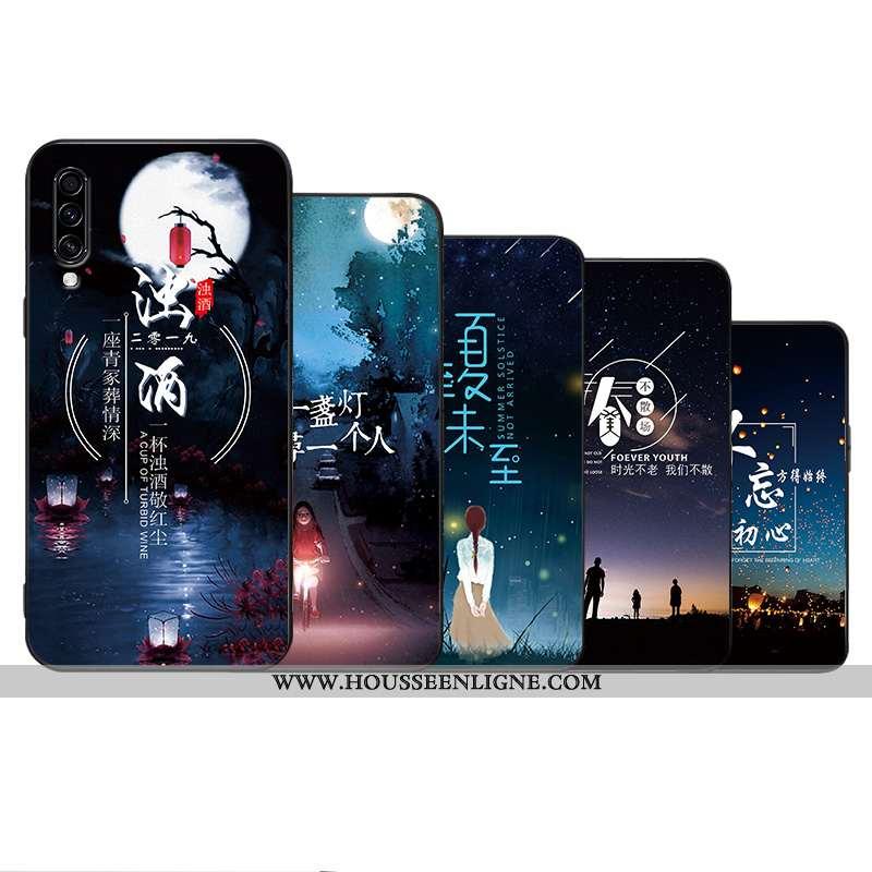 Coque Samsung Galaxy A70 Créatif Tendance Incassable Personnalité Silicone Étui Simple Bleu Foncé