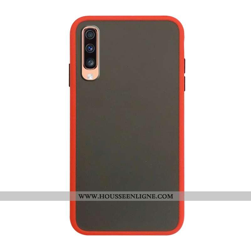 Coque Samsung Galaxy A70 Délavé En Daim Protection Rouge Difficile Business Incassable Téléphone Por