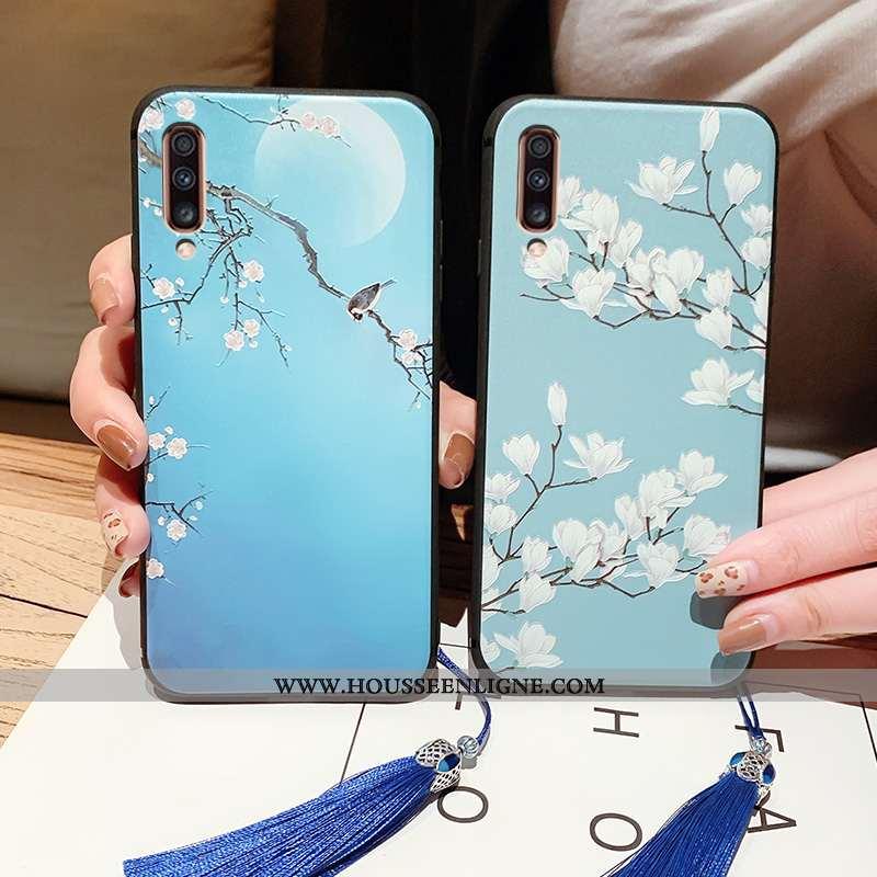 Coque Samsung Galaxy A70 Gaufrage Vintage Protection Bleu Tout Compris Style Chinois Fluide Doux