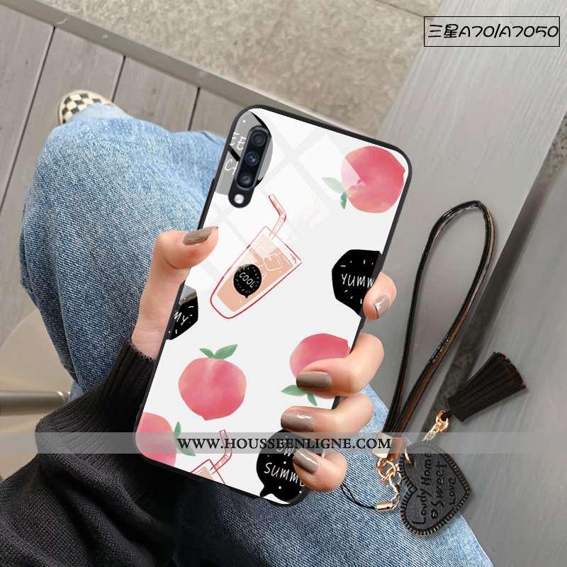 Coque Samsung Galaxy A70 Protection Verre Tendance Miroir Fruit Étoile Frais Blanche