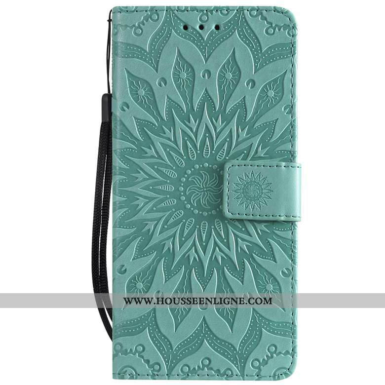 Coque Samsung Galaxy A70s Protection Cuir Étoile Fluide Doux Clamshell Étui Verte