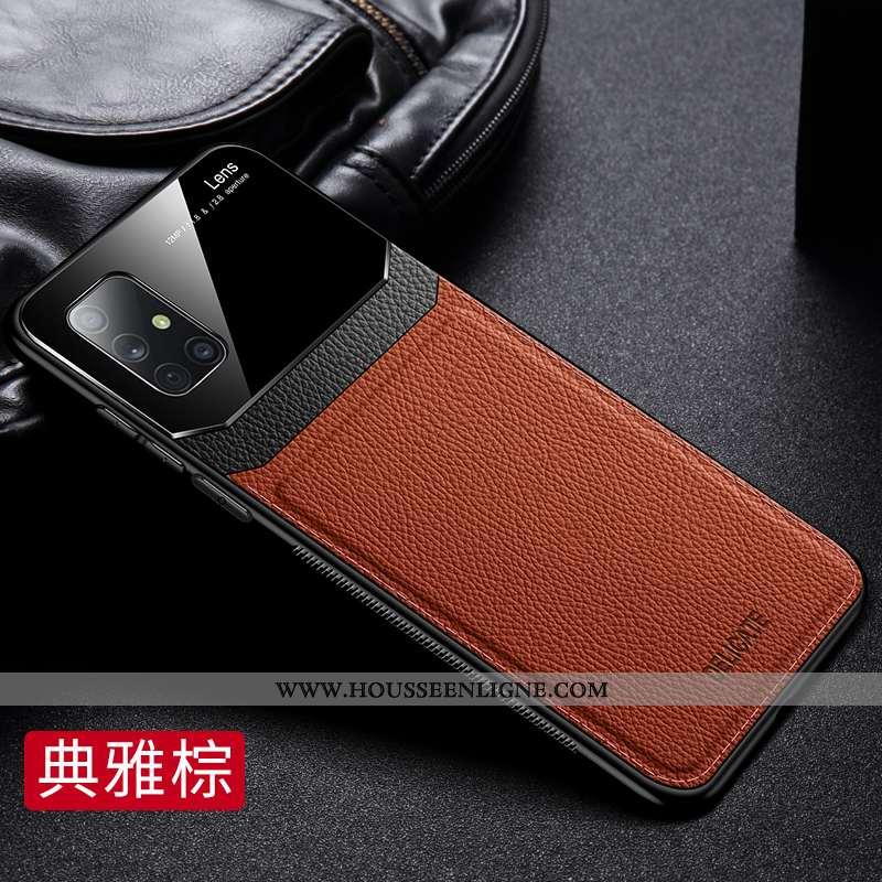 Coque Samsung Galaxy A71 Cuir Modèle Fleurie Incassable Business Téléphone Portable Étoile Marron