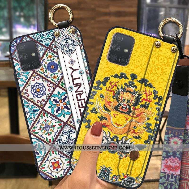 Coque Samsung Galaxy A71 Fluide Doux Protection Support Ornements Suspendus Jaune Vent Ethnique