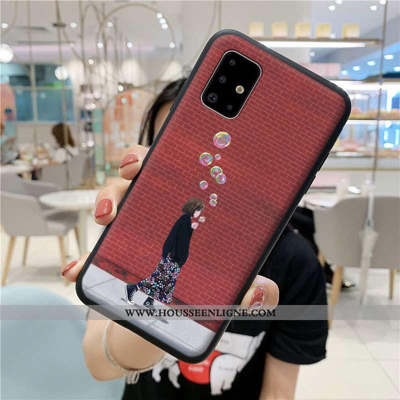 Coque Samsung Galaxy A71 Fluide Doux Protection Tout Compris Dessin Animé Étui Incassable Rouge
