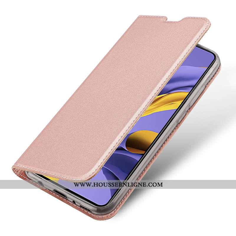 Coque Samsung Galaxy A71 Légère Cuir Téléphone Portable Étui Magnétisme Housse Incassable Rose