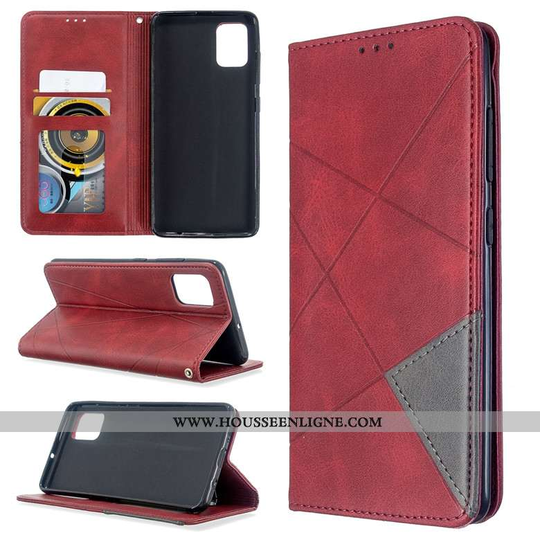 Coque Samsung Galaxy A71 Protection Cuir Rouge Clamshell Téléphone Portable Silicone