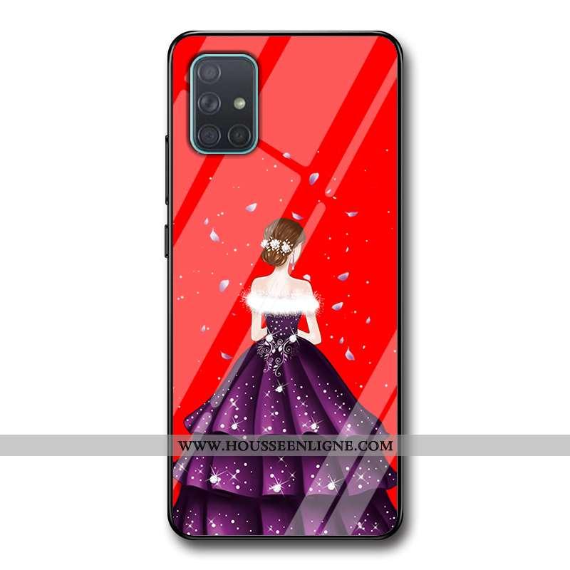 Coque Samsung Galaxy A71 Protection Verre Étui Étoile Incassable Tendance Yarn Rouge
