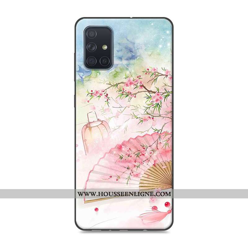 Coque Samsung Galaxy A71 Protection Vintage Étui Téléphone Portable Style Chinois Rose Silicone
