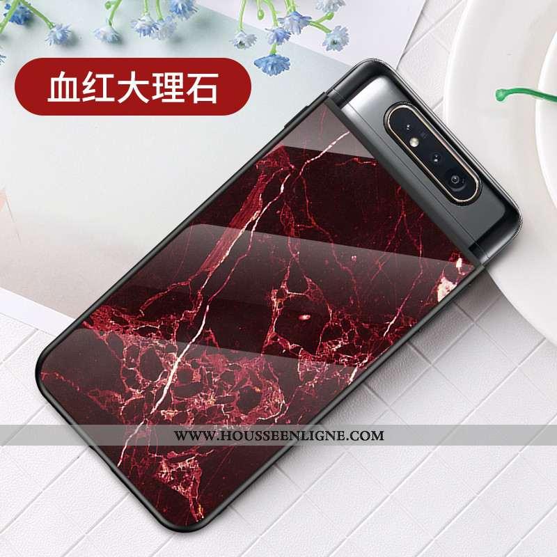 Coque Samsung Galaxy A80 Fluide Doux Protection Étui Ultra Incassable Légère Grand Rouge