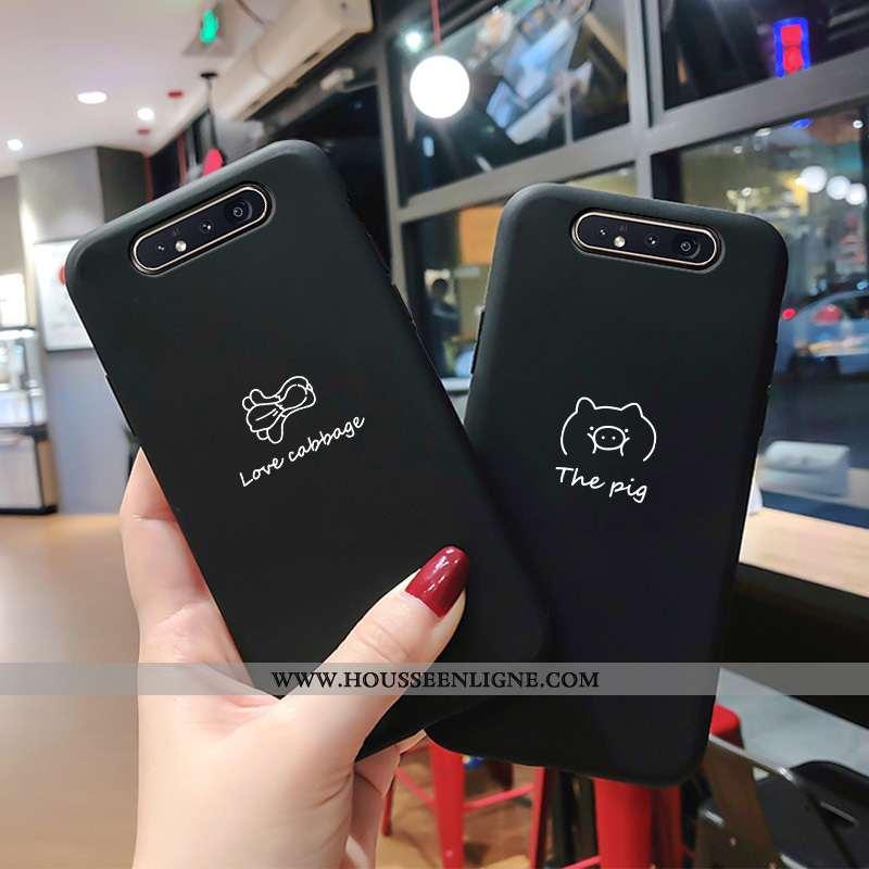 Coque Samsung Galaxy A80 Légère Mode Protection Incassable Délavé En Daim Noir Étoile