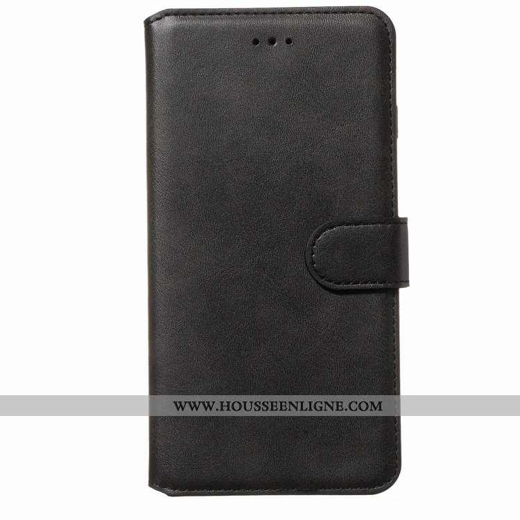 Coque Samsung Galaxy A80 Modèle Fleurie Fluide Doux Bovins Cuir Housse Étui Téléphone Portable Noir