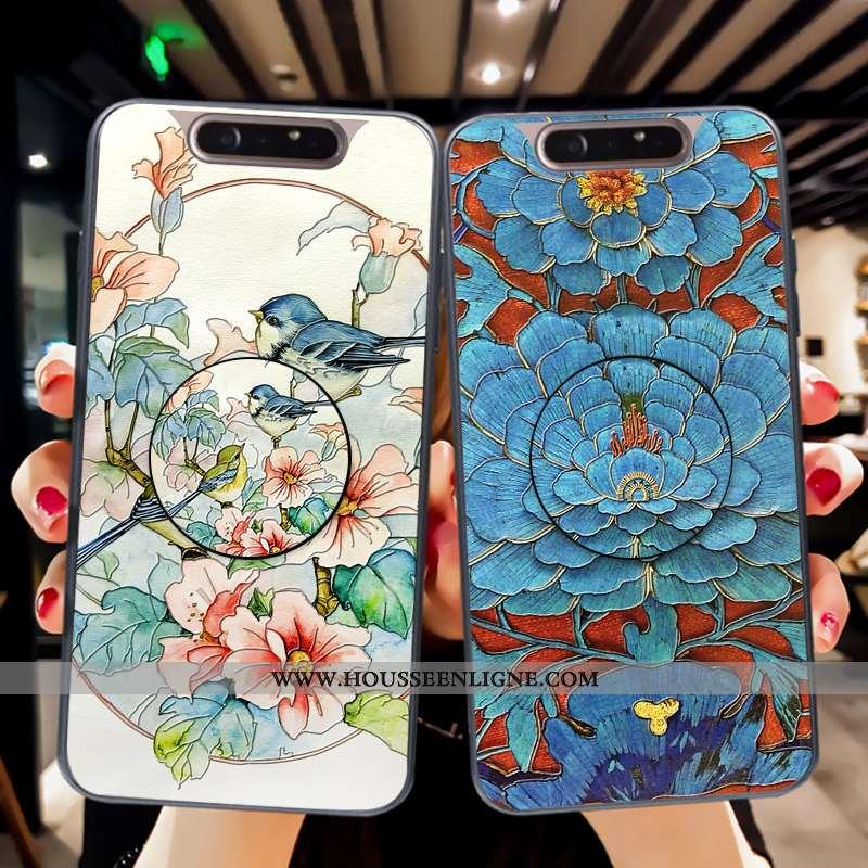 Coque Samsung Galaxy A80 Mode Protection Étoile Tendance Fluide Doux Étui Bleu