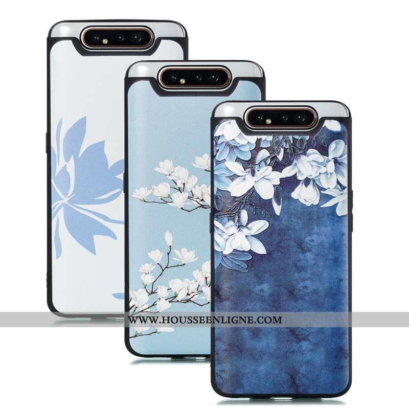 Coque Samsung Galaxy A80 Personnalité Dessin Animé Tendance Étui 2020 Bleu