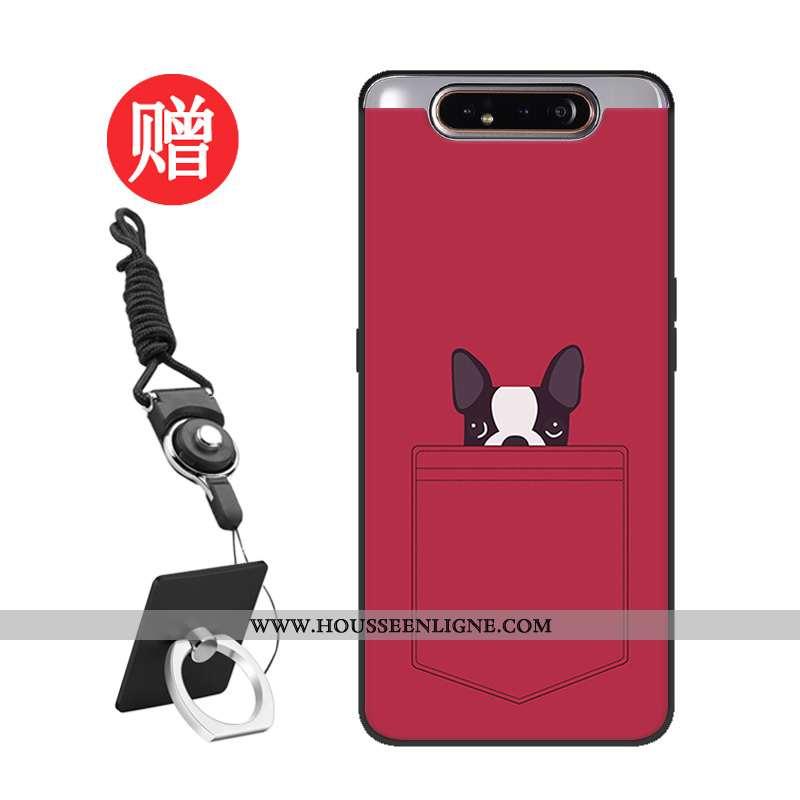 Coque Samsung Galaxy A80 Personnalité Silicone Tempérer Net Rouge Protection Modèle