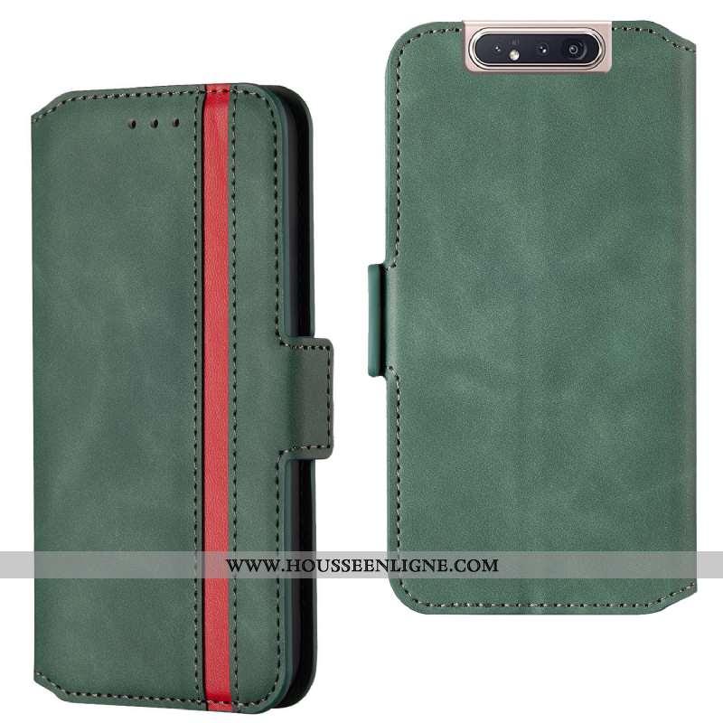 Coque Samsung Galaxy A80 Protection Cuir Silicone Housse Vert Étui Verte