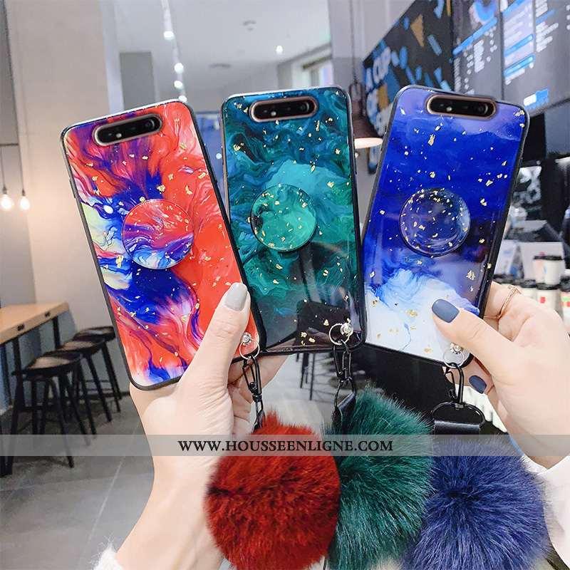 Coque Samsung Galaxy A80 Silicone Fluide Doux Incassable Tout Compris Étoile Téléphone Portable Bleu