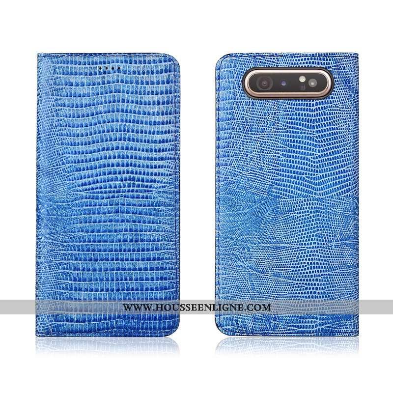 Coque Samsung Galaxy A80 Tendance Cuir Étoile Protection Délavé En Daim Véritable Fluide Doux Étui B