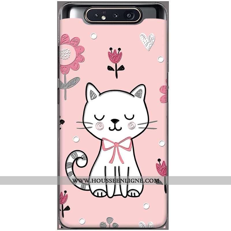 Coque Samsung Galaxy A80 Tendance Silicone Mode Tout Compris Amoureux Peinture Rose