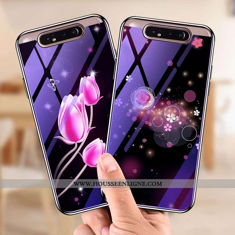 Coque Samsung Galaxy A80 Verre Tendance Téléphone Portable Violet Protection Étoile