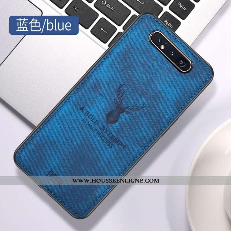 Coque Samsung Galaxy A80 Vintage Modèle Fleurie Tissu Téléphone Portable Protection Contre Les Explo
