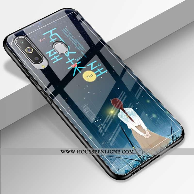 Coque Samsung Galaxy A8s Protection Verre Étui Difficile Tendance Paysage Silicone Bleu Foncé