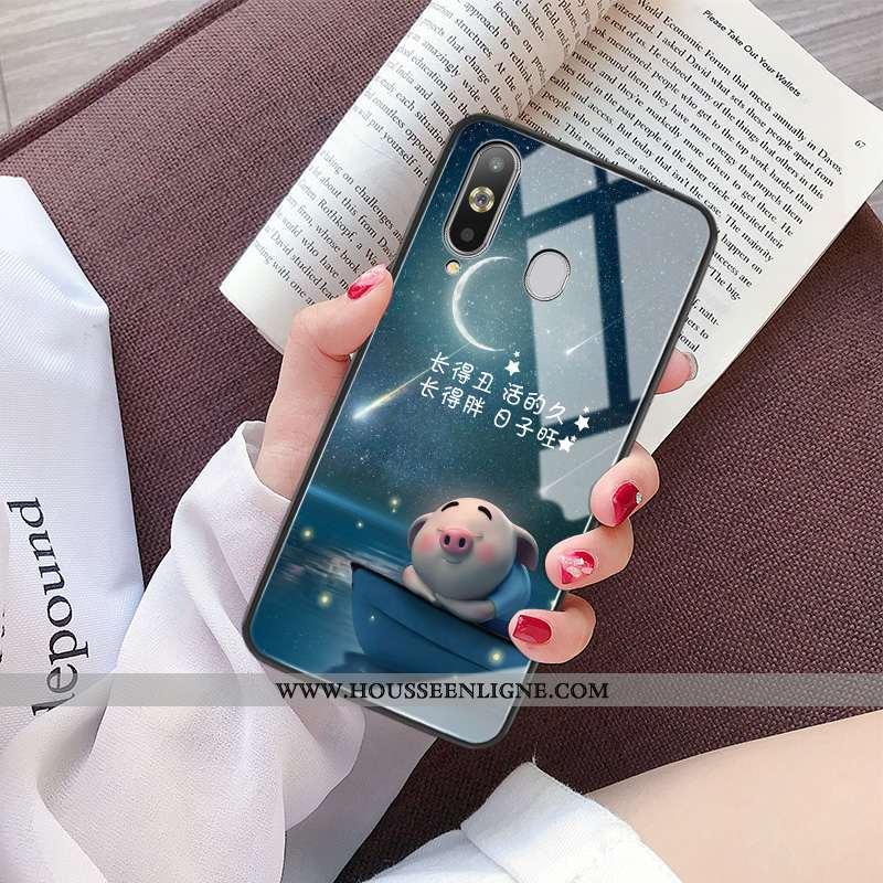 Coque Samsung Galaxy A8s Protection Verre Charmant Étoile Personnalité Miroir Petit Bleu