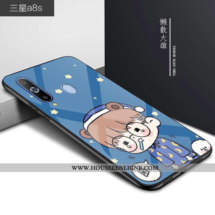 Coque Samsung Galaxy A8s Verre Personnalité Téléphone Portable Dessin Animé Bleu Incassable