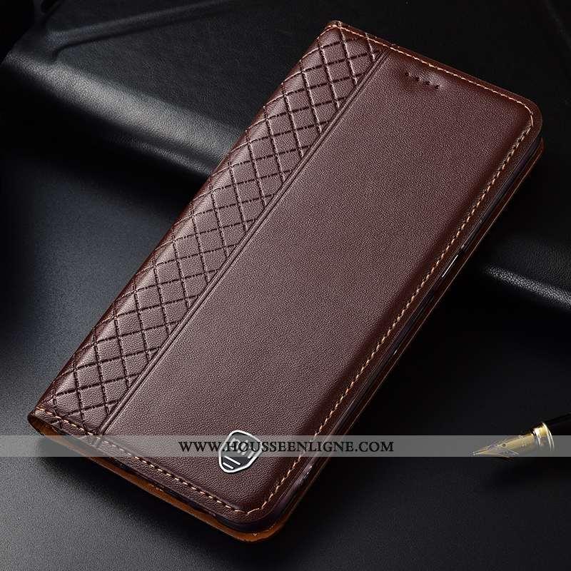 Coque Samsung Galaxy A90 5g Cuir Véritable Cuir Étui Étoile Incassable Téléphone Portable Marron