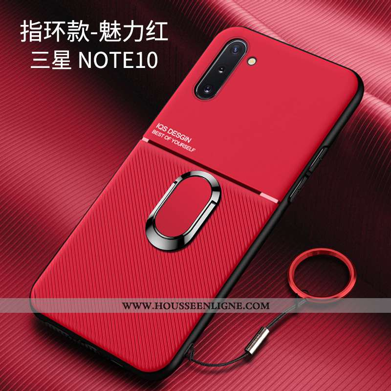 Coque Samsung Galaxy Note 10 Créatif Tendance Difficile Délavé En Daim Tout Compris Rouge Incassable